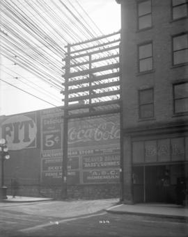 [Power lines over lane near Pender and Main Streets]