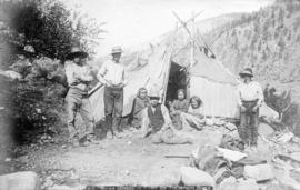 Indian miners in camp on Thompson River