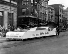 Royal Canadian Air Force silver jubilee float in 1949 P.N.E. Opening Day Parade