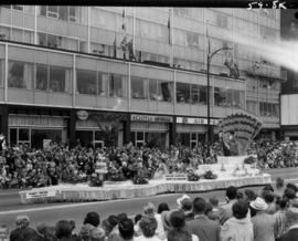 "Arlington ""Song of India"" float in 1959 P.N.E. Opening Day Parade"