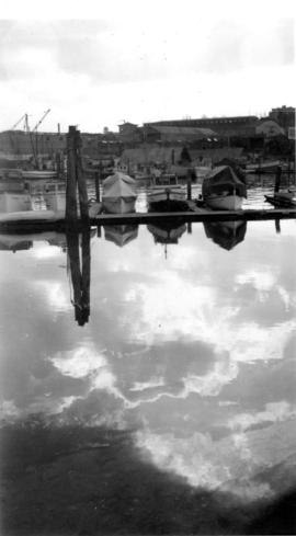 Boats at a marina with sky reflected in the water