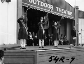 Gizeh Temple trumpeters on Outdoor Theatre stage during 1954 P.N.E. opening ceremonies