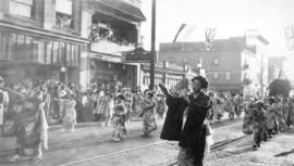 Japanese women in traditional costume in a parade