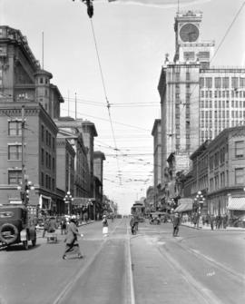 [View of Granville Street looking north from Robson Street]