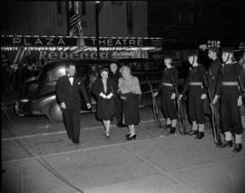 "[People being dropped off at the entrance to the Orpheum for the opening of ""Meet the Navy&q..."