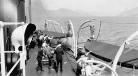 "[Life] Boat drill on T.S.S. ""Catala"""