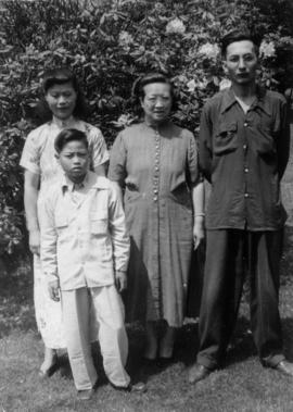 Gum May Yee, son Guy, Lillian Ho Wong, and Wilgene Wong in Vancouver