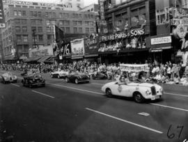 Sports Car Club of B.C. cars in 1955 P.N.E. Opening Day Parade, including Sunbeam, Triumph TR2, J...