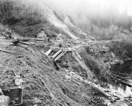 [Engineers survey damage after the Seymour Creek washout]