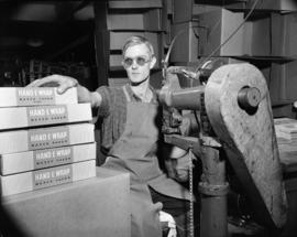 [Man making boxes for waxed paper at Westminster Paper]