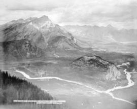 Banff and Bow River Valley from Sulphur Mountain, 9000 feet above sea-level