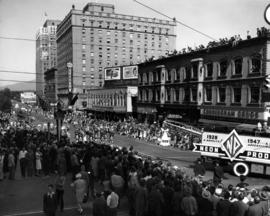 Neon Products float and marching band in 1947 P.N.E. Opening Day Parade