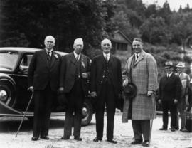 Rt. Hon. R.B. Bennett, W.H. Evans, Peter Barnhart, His Worship G.G. McGeer [at arrival of first t...