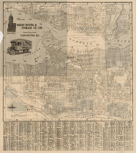 Indexed map of Greater Vancouver showing distances from Bekins building