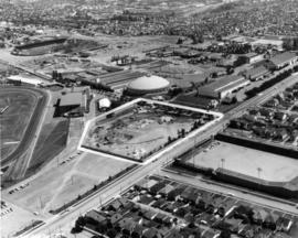 Aerial view of site for construction of Pacific Coliseum