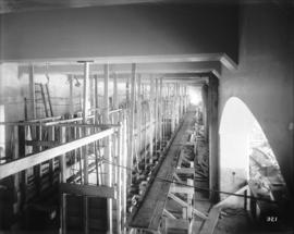 [Interior of partially constructed power house for Buntzen Lake Power Plant number two, showing c...