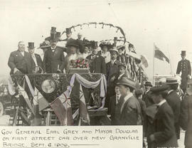 Governor General Earl Grey and Mayor Douglas on First Street Car over New Granville Bridge