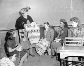 Indian sweater making [at Nanaimo Indian School]
