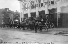[Firemen and horse drawn engines in front of Fire Hall No. 1 on Cordova Street at Gore Avenue]
