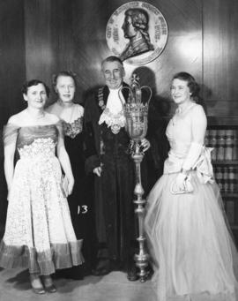 [Mrs. Jack Diamond, Mrs. Don C. (Buda) Brown, His Worship Fred J. Hume and Mrs. Colin Campbell]