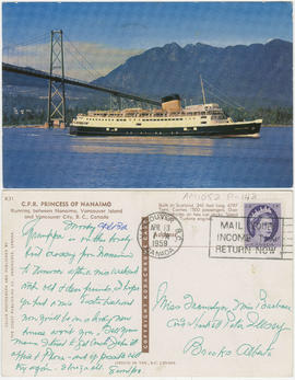 C.P.R. Princess of Nanaimo[.] Running between Nanaimo, Vancouver Island and Vancouver City, B.C.,...