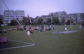 Gymnastics equipment set up in field