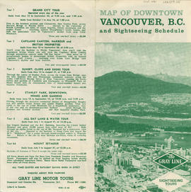 Map of downtown Vancouver, B.C. and sightseeing schedule : side 1