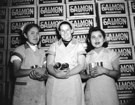 [Violet Sankey, Mrs. O. Larson and Hazel Stafford at Nelson Brothers Salmon] Cannery