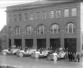 [Vancouver Firehall no. 2 with vehicles and personnel]