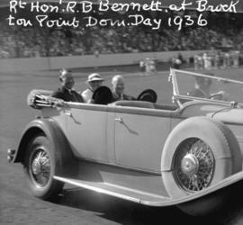 [Mr. and Mrs. Gerry McGeer and Rt. Hon. R.B. Bennett riding in touring car at Brockton Point duri...
