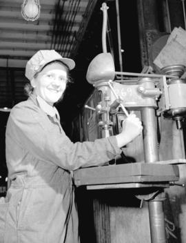 Burrard Shipyard - Miss Henriette Hall in Engine Fitting Department
