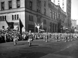 Pipe band in 1947 P.N.E. Opening Day Parade