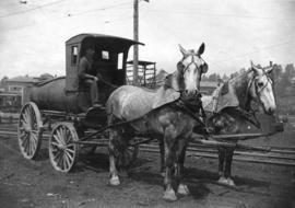 [A horse-drawn Imperial Oil Company delivery wagon]