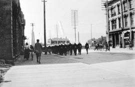 """On Parade"" [Yukon contingent of Canadian soldiers on Hastings Street approaching Granv..."