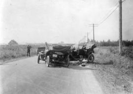 [The remains of two cars after an accident near Granville Street and Connaught Drive]