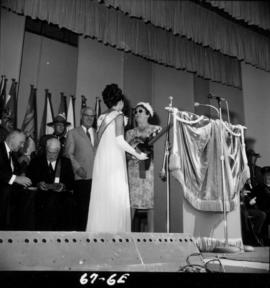 Miss P.N.E. 1966 Judy Collyer at 1967 P.N.E. opening ceremonies