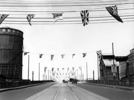 [McHarg (Georgia) Viaduct decorated with flags for visit of King George VI and Queen Elizabeth]