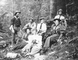 [H.C. Akroyd and others in a logging camp]