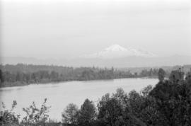 [View across river of Mount Baker]