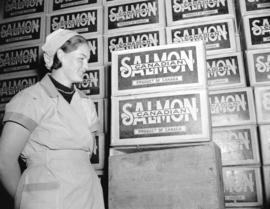Mrs. O. Larson at the Nelson Brothers Cannery