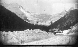 Glacier Hotel and glacier. C.P.R. Selkirks, midwinter