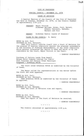 Special Council Meeting Minutes : Dec. 12, 1978