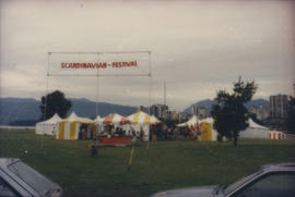 Scandinavian Festival sign and tents at Vanier Park