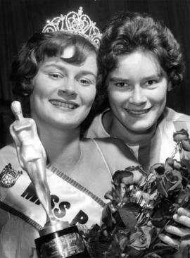 Diane Davidson, Miss P.N.E. 1962, poses with unidentified woman