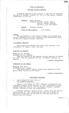 Council Meeting Minutes : Oct. 25, 1977