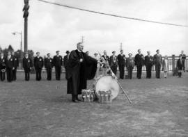 [Blessing of regimental regalia during visit of King George VI and Queen Elizabeth at Beacon Hill...