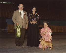 Best Brace in Show award being presented at 1976 P.N.E. All-Breed Dog Show [Miniature Pinschers]