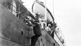 Official on rope ladder of Komagata Maru