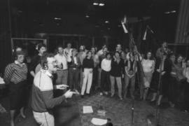 Group in recording studio at Griffiths Gibson Productions