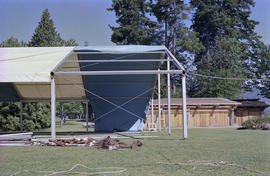 Event tent during installation